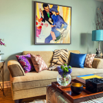 colorful living room wild retro