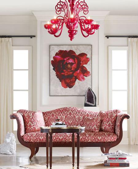 red designer living room