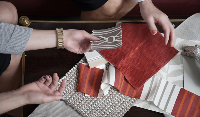 Zander's Move - Red Fabrics and Hands